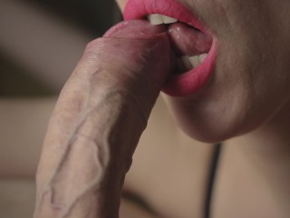 Pulsating cum of lucky dick. close-up oral creampie