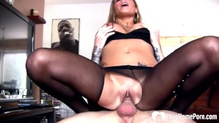 hot stepmom in pantyhose gives it to a pulsating schlong