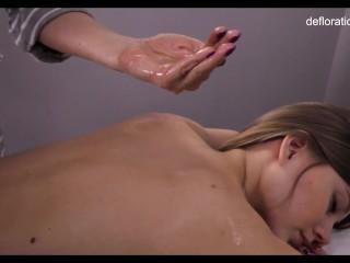 Petite/virgin/massage hot table wet oil