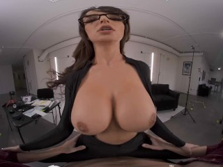 VR BANGERS Curvy Brunette In Hot Black Uniform Becomes Sex Model VR Porn