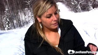 hot stepmom shows boobs and pees in snow
