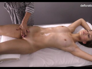 Virgin babe Lorentz gets her wet pussy rubbed by another girl
