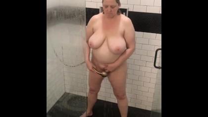 Nude showering