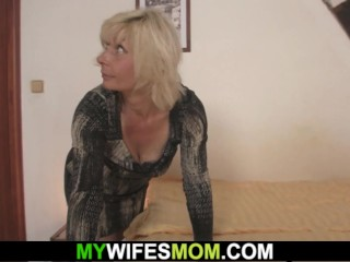 kinky girlfriends step-mom teases and plays with his huge cock