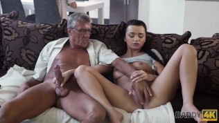 DADDY4K. Brunette Erica Black gets sperm of lover's dad on her pretty