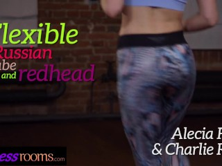 Fitness Rooms Flexible lesbian Alecia Fox and hot redhead Charlie Red twerk