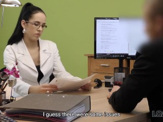 loan4k. elis dark asks for credit and spreads her legs in the hot office