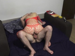 Soccer mom loves doggystyle ! Red fishnet outfit
