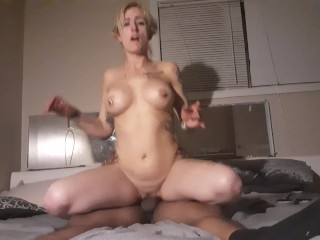 Beautiful tatted blonde with flawless anal bounces on big black cock