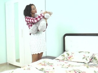 horny and hot brunette student fuck and suck pervert teddy bear