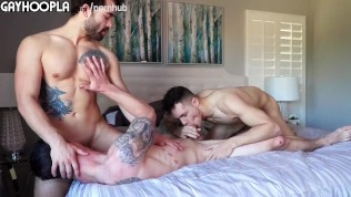 3 way! cute college guys have amazing hot gay sex. hot movie