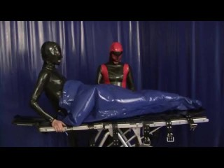 Latex Girl Heavy Rubber Slave In Inflatable Bondage Bag And Breath Control