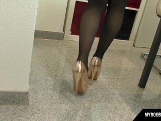 talia amanda as secretary in sexy lingerie put big boobs on desk