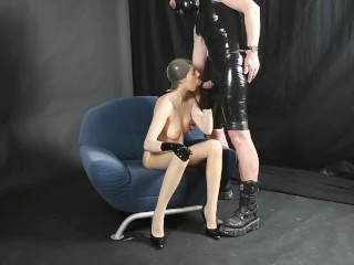 Young Rubber Whore Girl Latex Mask Stockings Gloves Fucked Hard + Blowjob