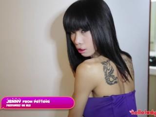 HELLOLADYBOY Big Tit Thai Beauty Jerks Off Newcomer