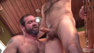 Hot and Hairy Daddies bareback in the Kitchen