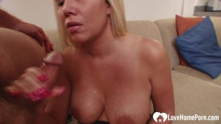 big tits blonde stepmom takes care of a boner