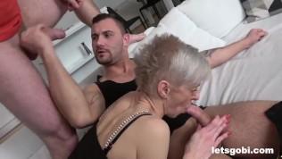 Bisex DP Threesome with Mature Slut