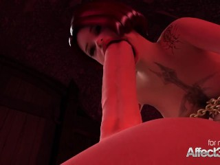3D fantasy animation with a vampire and a futanari cutie