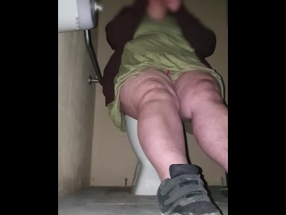 CUTE CHUBBY SLUT  PLAYS WITH HERSELF IN PUBLIC TOILET