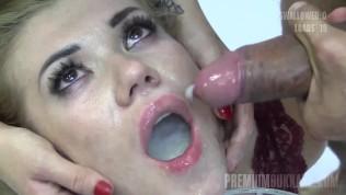 Premium Bukkake – Eva swallowing 58 big mouthful cumshots