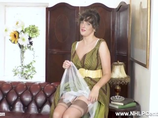 brunette natural big boobs kate anne masturbates in rare nylons and heels