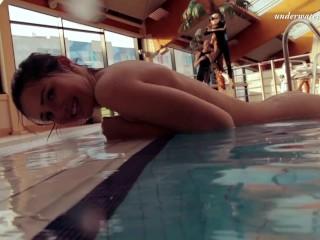 Submerged in the pool naked Nina
