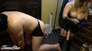 Husband Gets A Great Anal Strapon Workout from Big Tits Femdom Amateur Wife