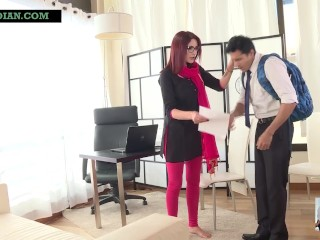 Indian MILF school teacher sucks student's dick and gets her pussy fucked