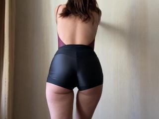 Home workout in spandex shorts and bodysuit. Masturbation, sex, handjob!