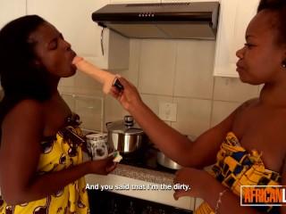 Two black amateur lesbians in kitchen