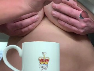 Big Tit Milf makes coffee, instead of cream she gets a face full of cum.