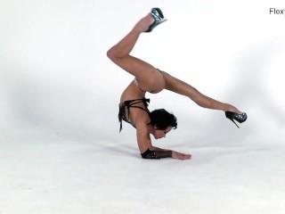 Russian black haired gymnast Liza