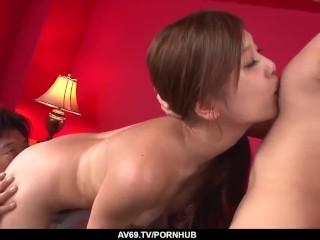 Nozomi Nishiyama goes wild on cock in insane trio