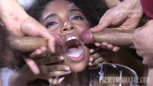Premium Bukkake – Luna Corazon swallowing 52 huge mouthful cum loads
