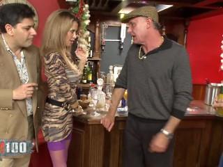 crazy wild group sex in a british bar