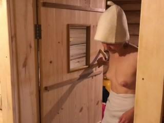 Hot Finnish girl suck cock in sauna, deep blowjob, pov