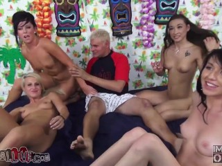 ALL GROUP SEX - Father & Son Host a Wild Tiki Themed Orgy - Part 1