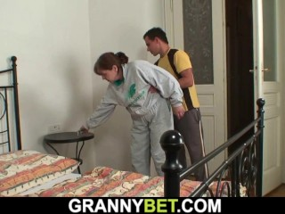 injured 80 years old gilf takes it from behind