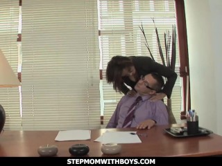 stepmom with boys dirty stepmom visits step-son in the office