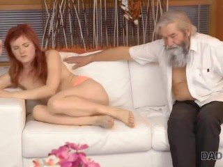 daddy4k. slutty ginger makes sweet love to gentleman at her grandpa ages