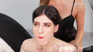 Premium Bukkake – Sheril Blossom swallowing 56 huge mouthful cum loads