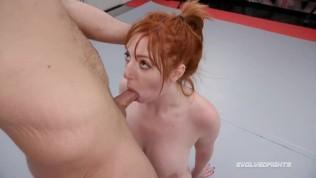 Lauren Phillips mixed naked wrestling vs Indiana Bones taking cock roughly
