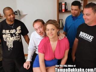 small tit tan bitch gangbanged by tampa bukkake