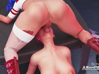Futanari Harley smashes her fresh cellmate in a 3D animation