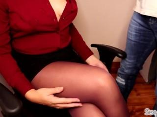 Secretary Jerks Off New Boy at Work till Cum on Crossed Legs in Pantyhose 5