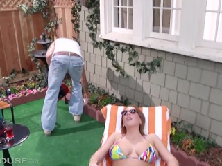 babe katerine moss tempts her gardener to fuck her mouth and wet pussy