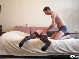 naughty stepmom in stockings takes a hard cock