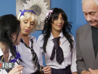 4 sexy college girls fucked by two perverted teachers