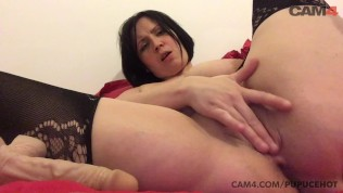 amateur french big titty milf sucks and plays with her big dildo | cam4